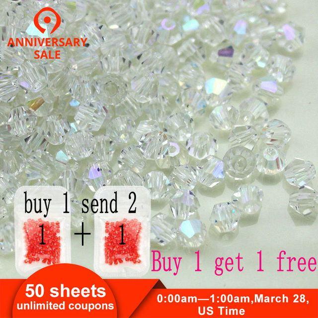 Acheter 1 et obtenir 1 livraison total 200 pièces Coloré 4mm Toupie perles en cristal En Verre Perles Lâche Spacer bracelet en perles Faire bricolage