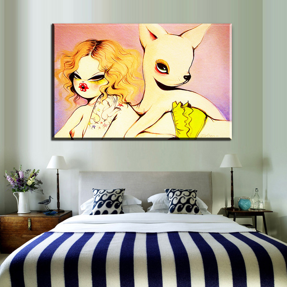 ZZ44 graffiti canvas posters and prints art cartoon girl with rabbit ...