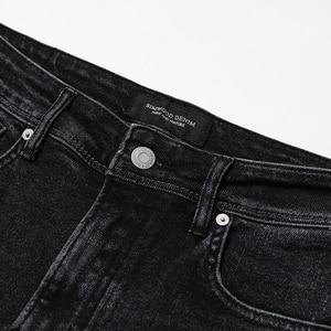 Image 3 - SIMWOOD 2020 printemps hiver nouveau jean hommes coupe ajustée mode trou Denim maigre déchiré pantalon grande taille décontracté NC017015