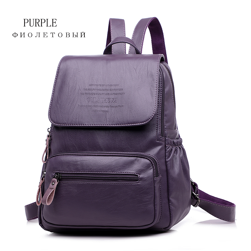 2019 Women Leather Backpacks High Quality Ladies Bagpack Luxury Designer Large Capacity Casual Daypack Sac A Dos Girl Mochilas