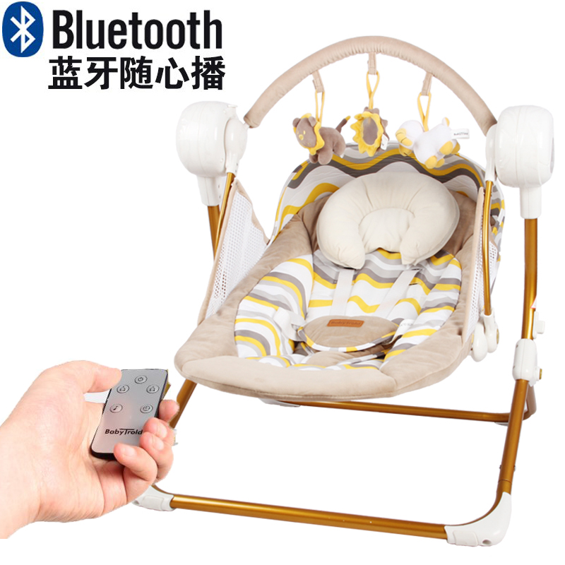 Electric baby swing music rocking chair automatic cradle baby sleeping basket placarders chaise lounge Bluetooth send gifts 2017 new limited brand cradle electric baby swing music rocking chair automatic sleeping basket golden frame 8gb bluetooth usb