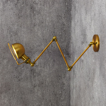 Loft Style Fold Long Arm Wall Sconce Iron Antique Lamp Industrial Vintage LED Wall Light Fixtures Indoor Lighting Lamparas