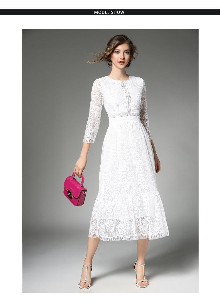 Elegant Women Long White Lace Dress Vetement Femme 2017 Robe Longue Ladies Summer Maxi Dress Dames Jurken K942578 2