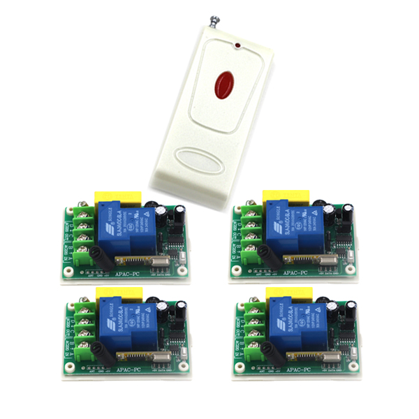 1 Channel Relay RF remote control switch 1 transmitter 4 receiver, 220v 30A remote light switch SKU: 5549 ac220v 30a 1000m 1 channel wireless remote control switch 3000w high power relay 15 receiver for water pump sku 5512