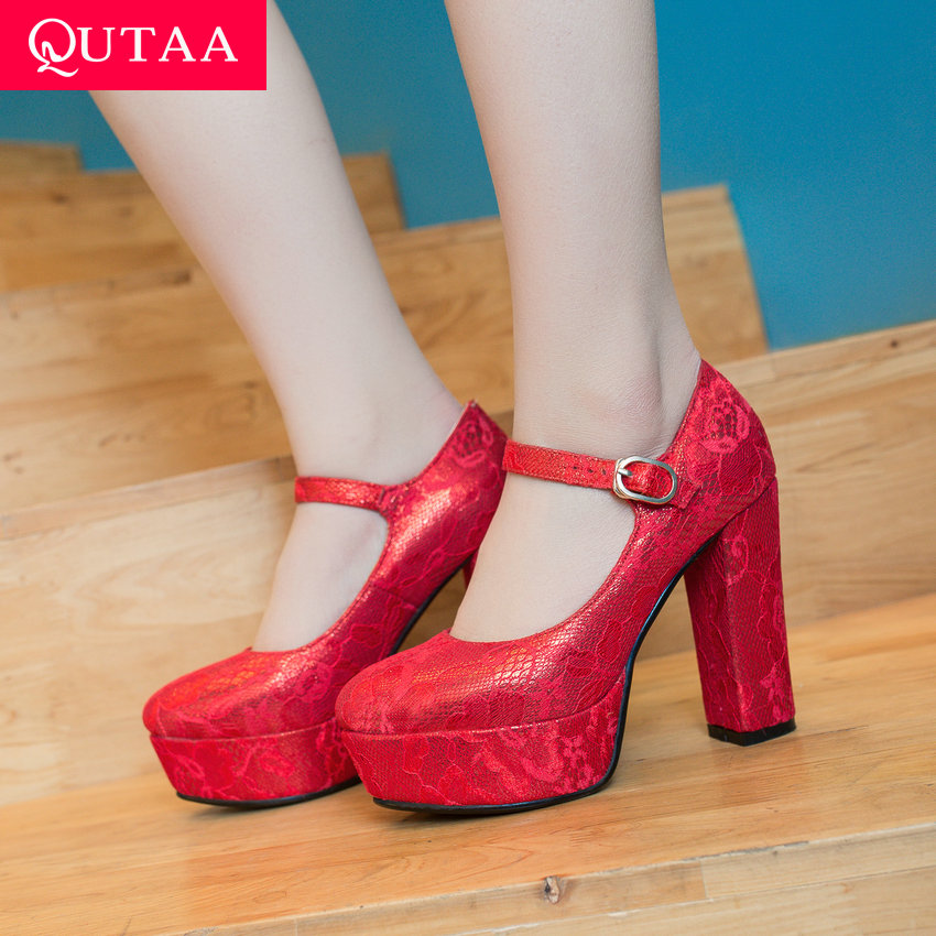 QUTAA 2019 Wedding Women Pumps Square High Red Heels Ankle Strap Round Toe Buckle Lace Bridal Shoes Platform3.5cm Size 34-43QUTAA 2019 Wedding Women Pumps Square High Red Heels Ankle Strap Round Toe Buckle Lace Bridal Shoes Platform3.5cm Size 34-43