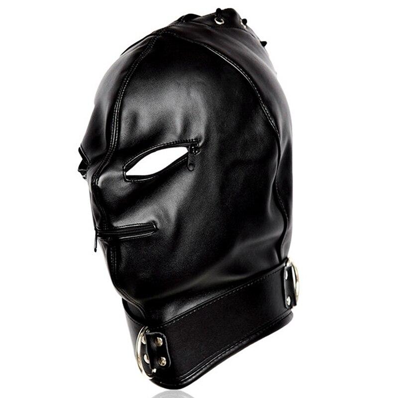 Голова Кожа жгут полиуретановая маска капюшон рот Даг БДСМ костюм фетиш бондаж регулируемый - Цвет: PG0191