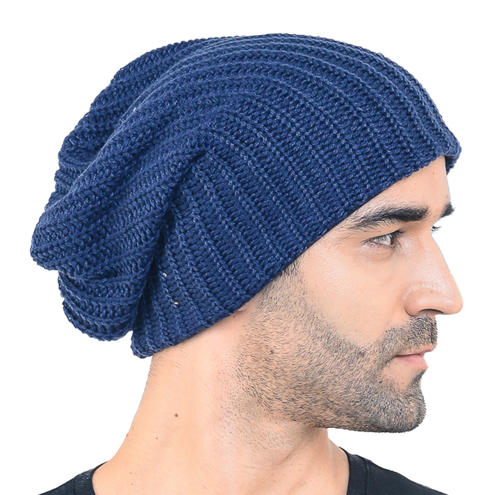 44f9e0d3d30 HISSHE Mens Slouchy Beanie Classic Long Baggy Oversize Skull Cap Bonnet Knit  Warm Soft Ski Winter Hat