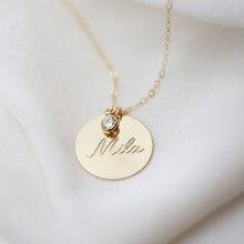 الذهب القرص قلادة اليدوية الأولي رسالة قلادة عملات المختنق الذهب شغل المعلقات كولير فام Kolye مجوهرات بوهو قلادة
