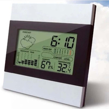 Wholesale prices Digital LCD display indoor wireless weather station with new measuring humidity senor temperature meter calendar  aram clock
