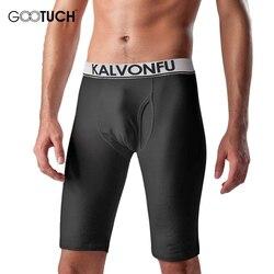 سروال رجالي طويل سراويل بوكسر مرونة ضيق طول الركبة شتاء دافئ سروال ضغط حجم كبير الملاكمين الملابس الداخلية 5066