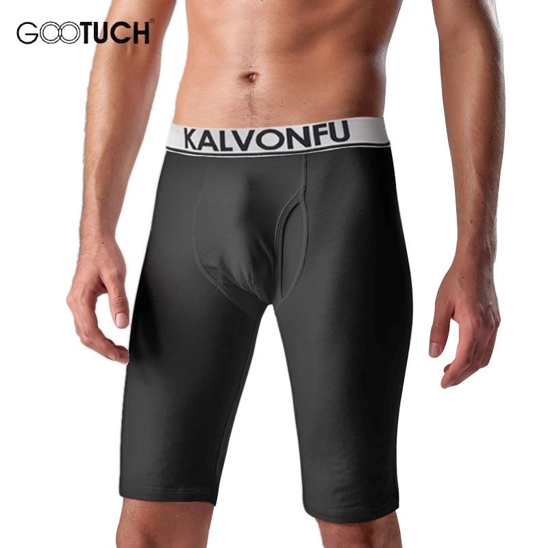 Underpants Mens Long Boxer Shorts Elastic Tight Knee Length Winter Warm Underpants Compression Plus Size Boxers Underwear 5066