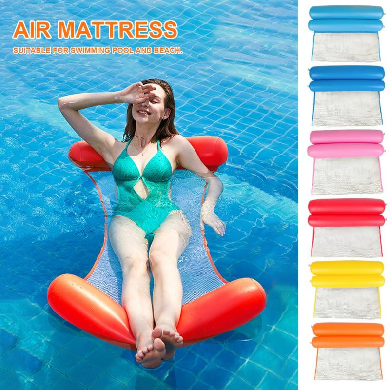 Summer  Foldable Inflatable Air Mattress Water Hammock Swimming Pool Beach Single People Lounger Floating Bed Sleeping Cushion
