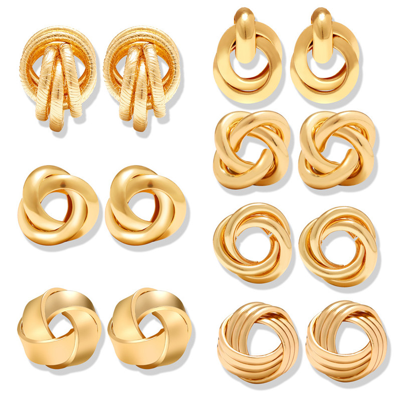 17KM Stud-Earrings Jewelry Irregular Knot Women New-Fashion Geometric Brincos-Statement