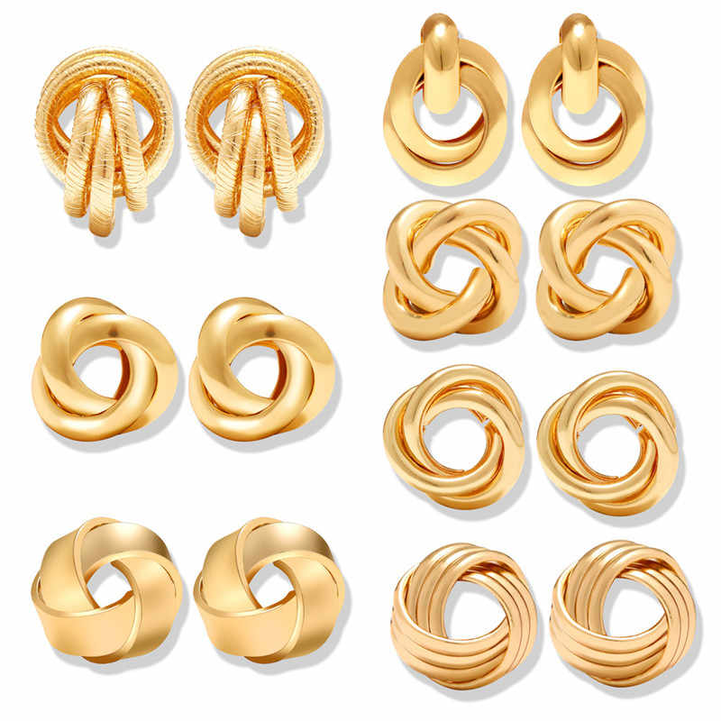 17KM 2019 Gold Color Knot Stud Earrings For Women New Fashion Brincos Statement Irregular Metal Round Earring Geometric Jewelry