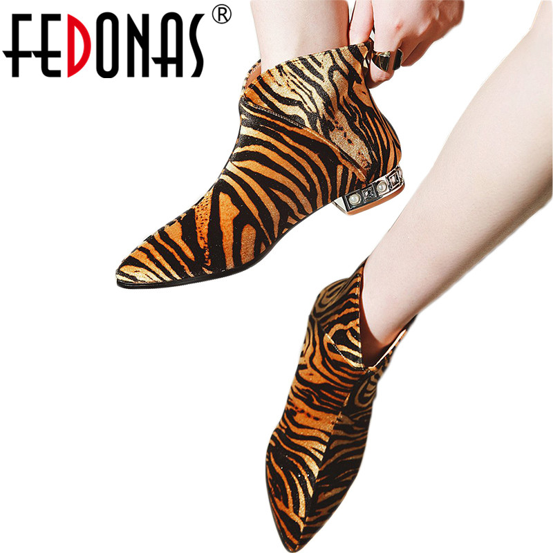 FEDONAS Fashion Women Ankle Boots Sexy Pointed Toe Square Heels Shoes Autumn Winter Warm Leopard Party