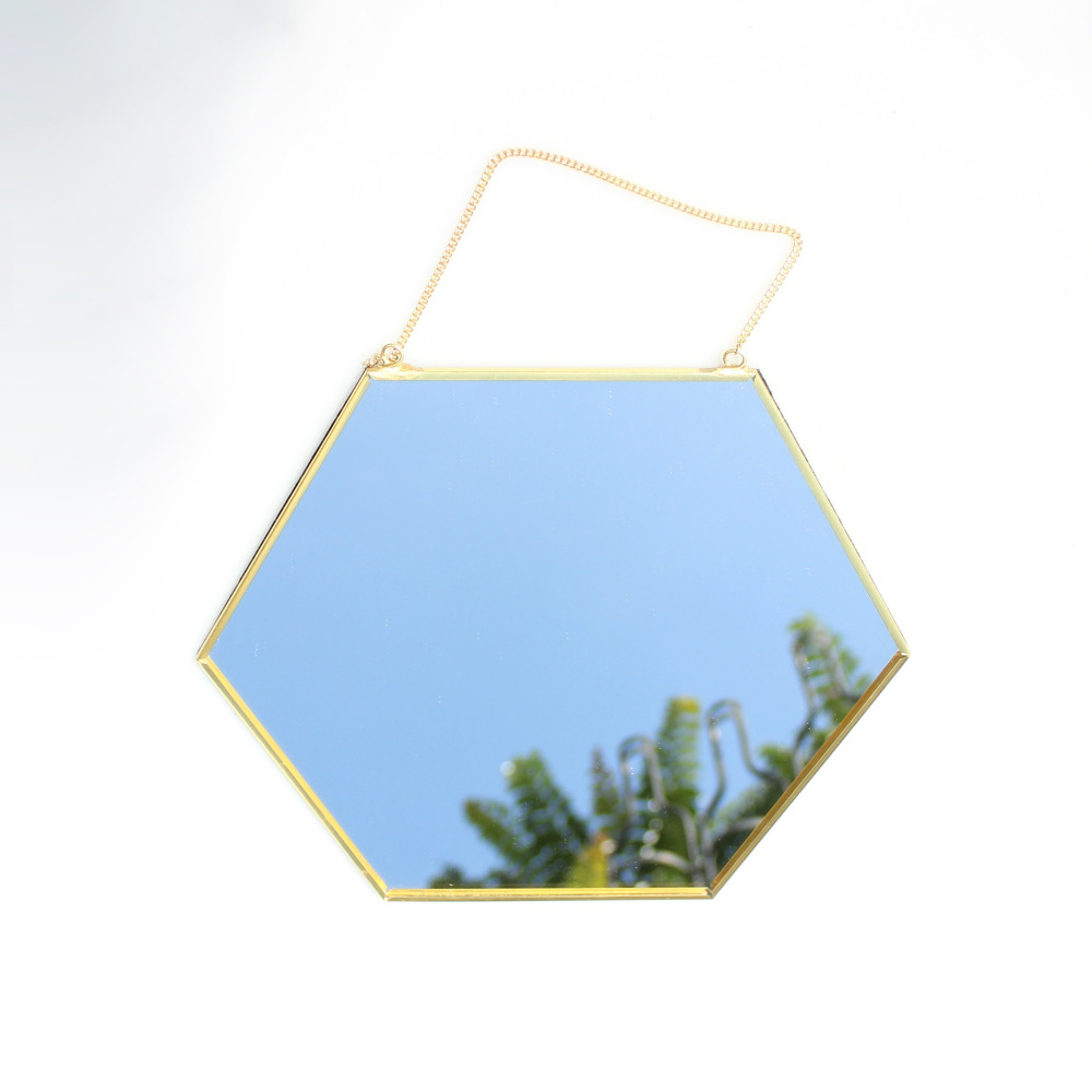 Hanging Geometric Brass Hexagonal Mirror Background Wall Golden Bathroom Mirror Entrance Mirror Hanging Makeup Mirror in Decorative Mirrors from Home Garden