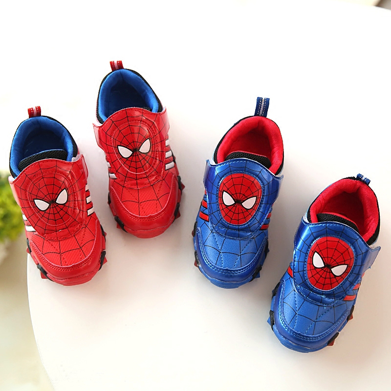 Kids sport shoes 2016 Spring spiderman lighted shoes Flash Fashion Sneakers toddlers brand girls shoes led
