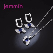 Elegant Engagement Wedding Created Sapphire 925 Sterling Silver Jewelry Set
