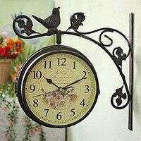 Watches Decoration Art Quartz Special Offer Double Clock European Garden Bird Standing Mute Double Sided Clock