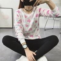 Woman Korean Sweet Cartoon Fleece Sweatshirts Polka Dot Animal Velvet Pullover Hoodies 2017 Fall Winter Long