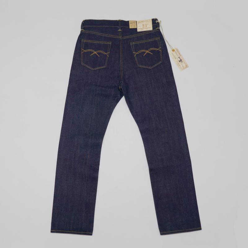 BOB DONG 23 oz mannen Jeans Rode Lijn Zelfkant Denim Broek Slim Fit Straight Leg