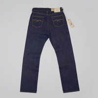 BOB DONG 23oz Men's Jeans Red Line Selvage Denim Pants Slim Fit Straight Leg