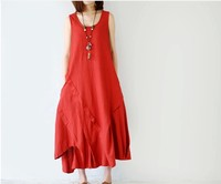 2018 New Art Mori Girl Women Cotton Linen Loose Big Size Sleeveless Vest Irregular Hem Ankle