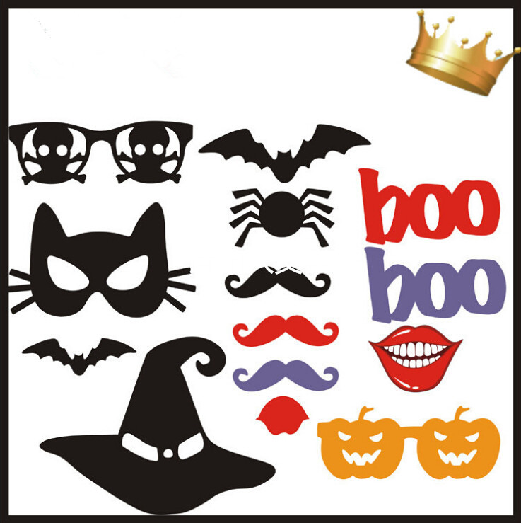 aliexpresscom buy free shipping 14pcslot diy halloween photobooth props wedding props halloween party mustache and lips decorations from reliable - Halloween Photography Props