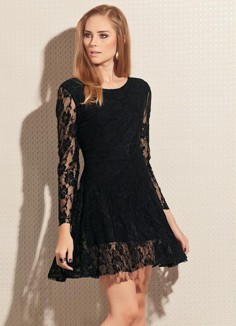 New 2016 Long Sleeve Cheap Lace Prom Homecoming Dresses Short Black