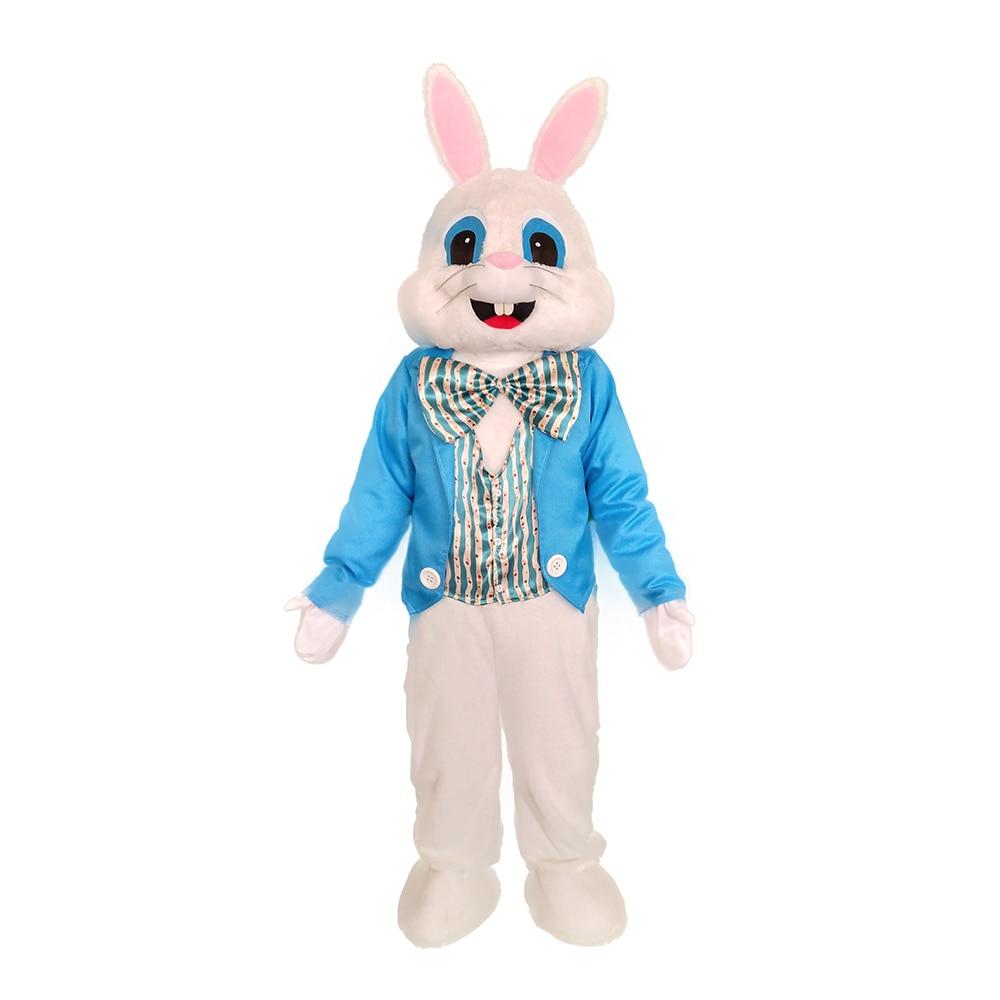 Blue Vest Easter Bunny Mascot Costume Rabbit Cartoon Character Fancy Party