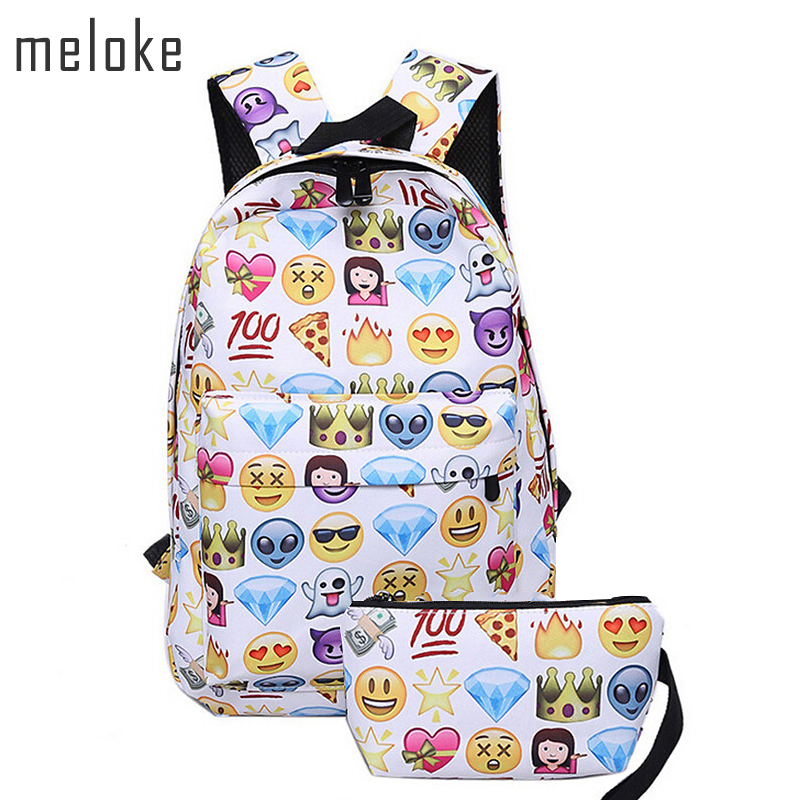 Meloke 2018 2 PCS canvas Leisure Travel Backpack Clutch Bag 3D Smiley Emoji Face Printing School Bag Teenagers Mochila MN265