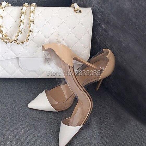 383cb5b16 Zapatos Mujer Talones Claro Sapatos De Salto Alto Festa de Casamento  Escritório Bombas Stilettos Dedo Apontado