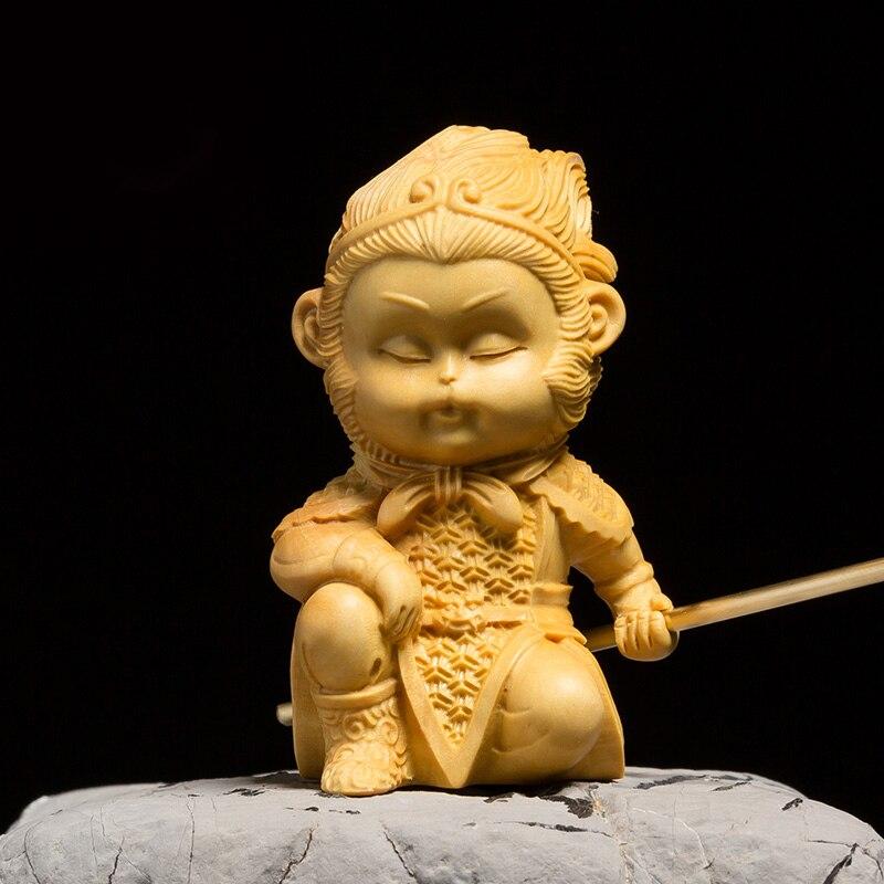 Chinois poupées SINGE ROI figurines statue En Bois Soleil Wukong cadeau sculpté décor fée Figurine En Bois Mythologie figure Miniature