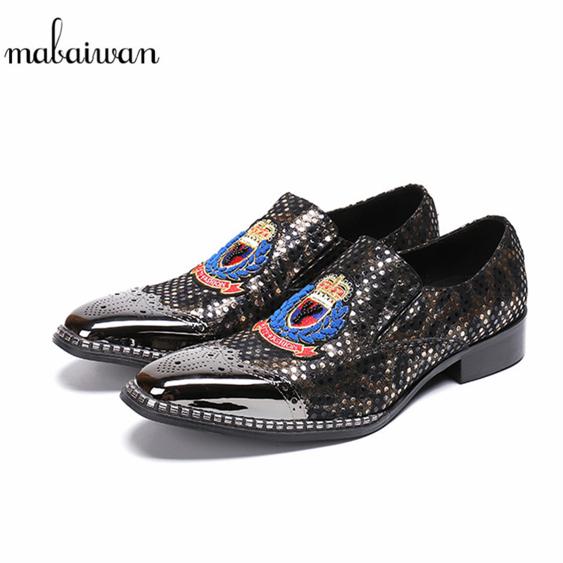 Mabaiwan 2018 New Fashion Handmade Men Shoes Slipper Leather Loafers Dress Wedding Shoes Men Party Slip On Flats Plus Size 38-46 mabaiwan italy casual men shoes snakeskin leather loafers fashion slipper wedding dress shoes men slip on handmade party flats