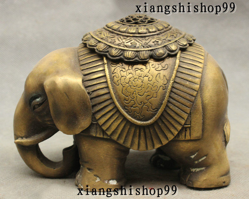 Marked Chnese Buddhism Bronze Auspicious Elephant Statue Incense Burner Censer