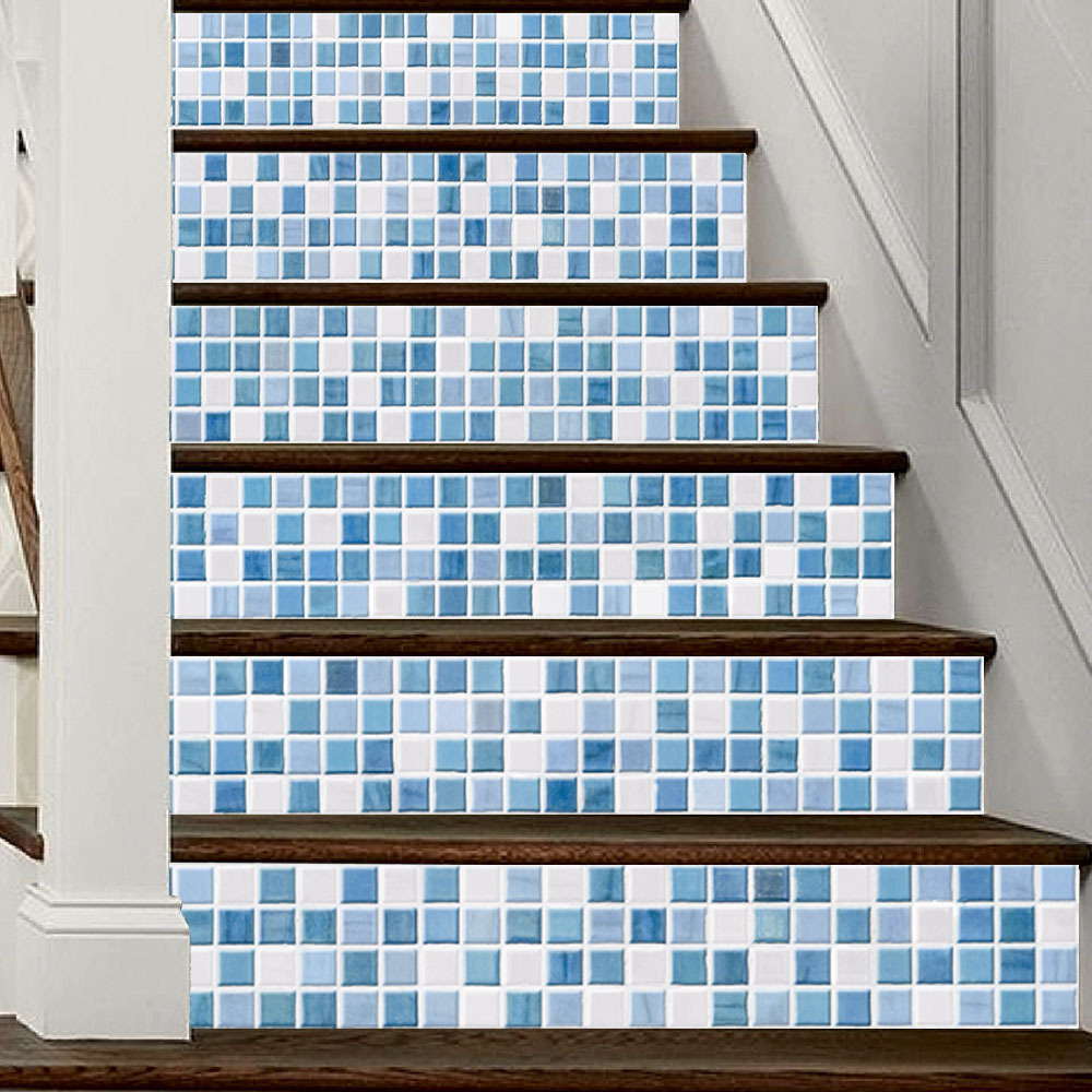 Blue White Imitation Tile Living Room Background Stair Decals Wall ...