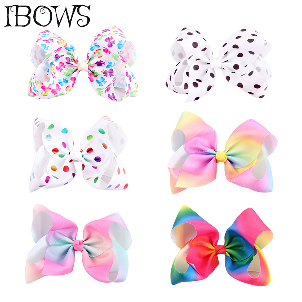 7 colorful rainbow hair bows