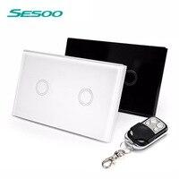 EU UK Standard SESOO Touch Switch 2 Gang 1 Way Crystal Glass Switch Panel Single FireWire