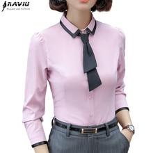 New Fashion Women Shirt Autumn Formal Elegant Patchwork Tie Long Sleeve Slim Blouse Office Ladies Work Wear Plus Size Tops