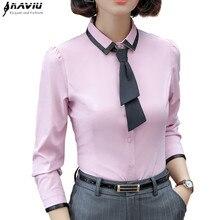 Yeni moda kadınlar gömlek sonbahar resmi zarif Patchwork kravat uzun kollu ince bluz ofis bayanlar İş elbisesi artı boyutu Tops