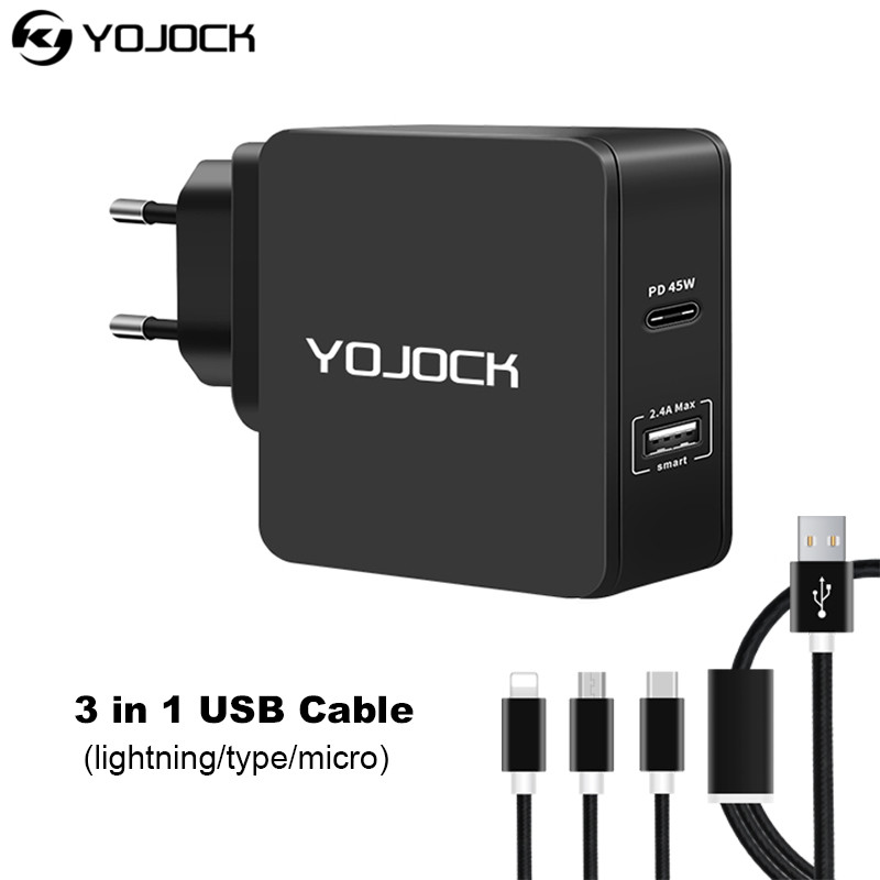 USB C Charger 57W USB Power Delivery Quick Charge 2.4A 3.0 Travel Charger for Apple MacBook for Samsung Notebook Charger