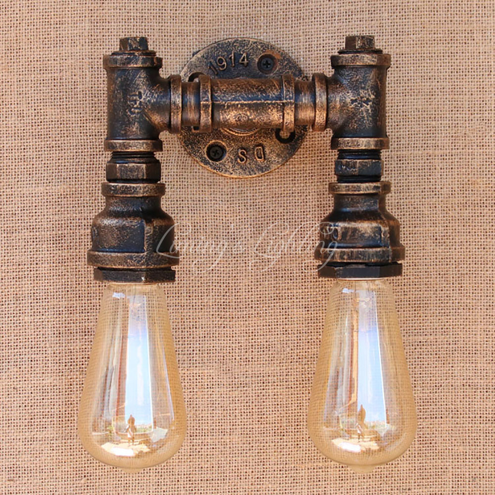 Retro 2 Heads Light Iron Water Pipe Vintage Wall Lamp Steampunk Pipe Wall Light 2 Lamps For Hallway Bedroom Living Room Bar Cafe|vintage wall lamp|wall lampiron water pipe - AliExpress