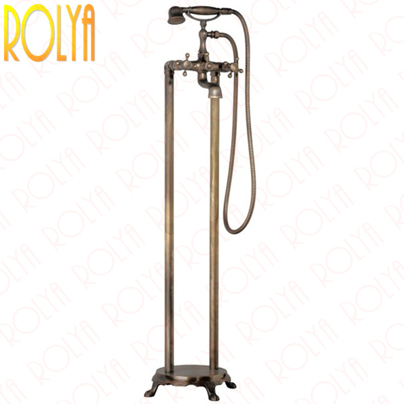 Rolya Vintag Floor Mounted Bath Shower Mixer Faucet Taps Freestanding Tub Filler Old Style Bath Bathtub Faucet