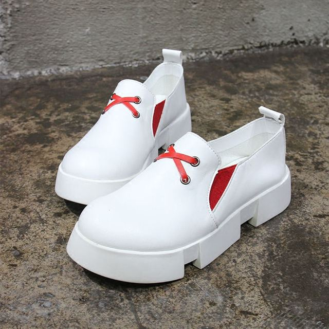 2016 Корейский Красный Белый Обувь Новые Плоские Loafer Обувь Толстым Дном Сдобы Ленивый Отдыха Женская Обувь