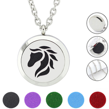 Free felt pads and chain!316L horse jewelry necklace locket pendant  Aromatherapy  Essential Oil Diffuser Necklace For Gifts