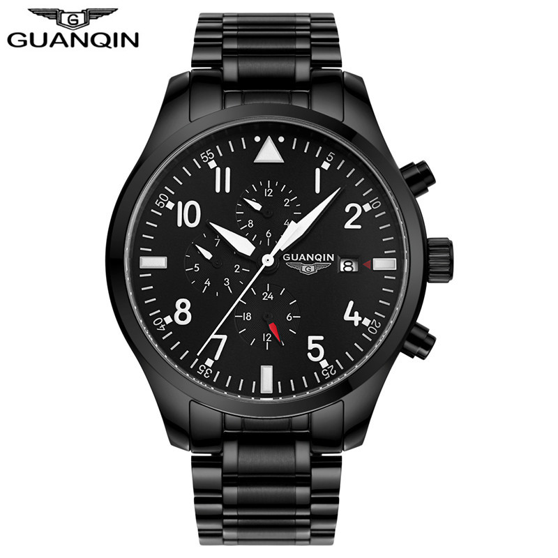 GUANQIN GJ16012 PILOT'S WATCHES Army Watches Sport Military Men Wristwatch Black Automatic Mechanical Movement Luxury Brand ручка телескопическая mg tr 82f truper 16012