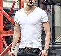 Tops Camisetas de Manga Corta camiseta de Los Hombres de algodón lycra camiseta hombres de marca de moda V cuello de la camiseta los hombres 2016 Nuevos Mens verano