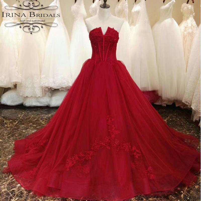 US $228.0 |Real Sample Off Shoulder Lace Applique Red Wedding Dress Plus  Size-in Wedding Dresses from Weddings & Events on Aliexpress.com | Alibaba  ...