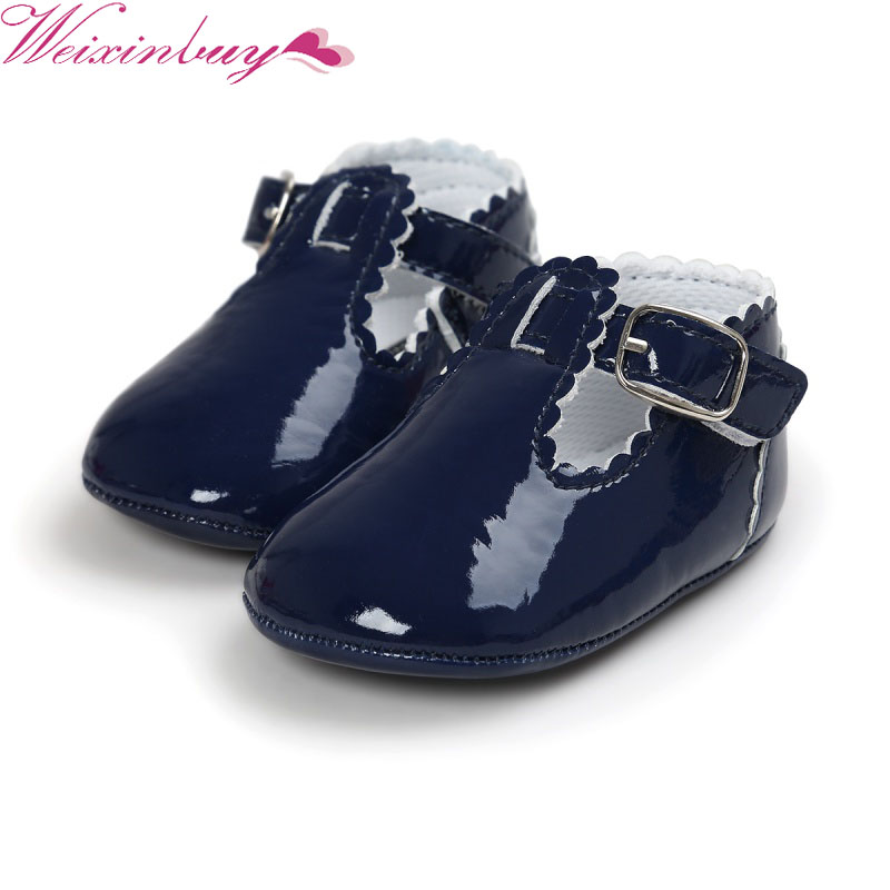 WEIXINBUY New Vintage Toddler Baby Girl Spring And Autumn PU Solid Color Princess Baby Shoes Anti-slip Crib Shoes Prewalker Hot