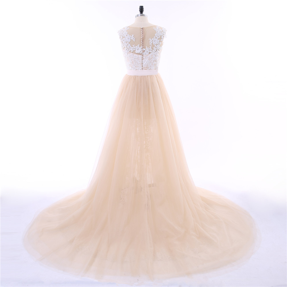 Champagne Vestido De Noiva 2018 Wedding Dresses Mermaid Cap Sleeves Tulle Applique Lace Detachable Wedding Gown Bridal Dresses 3